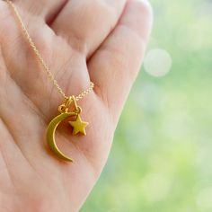 Solid 14k Gold Crescent Moon and Star Charm Necklace by Sevgi Charms