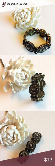 Black Rhinestone Stretch Bracelet Black and gray rhinestone stretch bracelet. Can we stacked or worn alone. Jewelry Bracelets