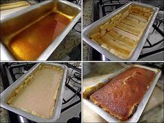 Essa também é daquelas receitas que parecem complicadas mas são bem fáceis! Para começar é necessário fazer um caramelo. Eu fiz na própria forma de bolo inglês, na boca do fogão. Coloquei 3 colhere…