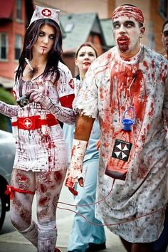 Check out our latest article Halloween Costumes Ideas for Women Unique. Know more about Halloween costumes diy teen girls friends, Halloween costumes college couples funny. Halloween Zombie, Homemade Zombie Costume, Zombie Nurse Costume, Insane Asylum Halloween, Costumes Sexy Halloween, Couples Halloween, Unicorn Halloween, Theme Halloween, Halloween Diy