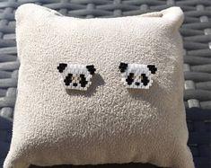 Items similar to BO Panda head ear studs - mini minimalist ear jewelry - Miyuki pearls - Ear piercing studs. Earring animals on Etsy - Panda head ear studs – Minimalist mini ear jewelry – Miyuki pearls – Ear piercing studs, anim - Hama Beads Patterns, Seed Bead Patterns, Beaded Jewelry Patterns, Beading Patterns, Seed Bead Jewelry, Bead Jewellery, Seed Bead Earrings, Beaded Earrings, Miyuki Beads