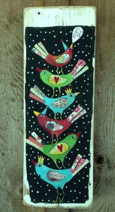 Happy Day Birds Folk Art on Reclaimed Wood by evesjulia12 on Etsy, $58.00
