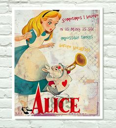 Alice in Wonderland  Mixed Media Collage  by PurpleCowPosters, $19.00