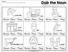 best noun worksheets images  english nouns first grade nouns  fun way to practice nouns use a bingo dabber to dab if the picture is