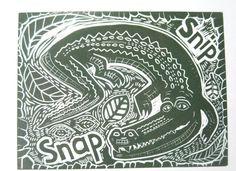 Crocodile Original Linocut by SheridanOriginals on Etsy