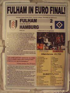 FULHAM 2 HAMBURG 1 - 2010 EUROPA LEAGUE - SOUVENIR PRINT