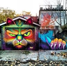 Integrado Cat street art,