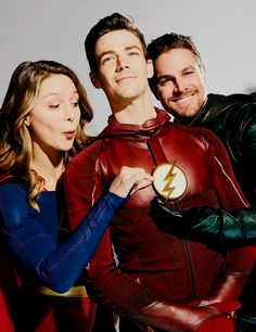 Grant Gustin, Melissa Benoist and Stephen Amell for EW - Visit to grab an amazing super hero shirt now on sale!