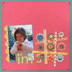 "#papercraft #scrapbook #layout. ""I'm 3!"" - Scrapbook.com - #scrapbooking #layouts"