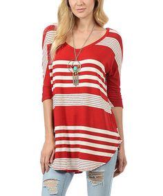 Red White Wide Stripe V-Neck Round-Hem Tunic #zulily #zulilyfinds