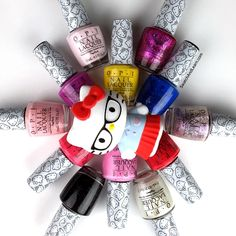 Here, kitty, kitty! It's the OPI Hello Kitty Collection! (Some shades will be reviewed in-depth on SwatchAndLearn.com.)