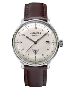 The Junkers Bauhaus 6046-5 Watch is made in Germany and features a 40mm stainless steel case, Swiss Ronda 515 movement with a domed hesalite crystal.