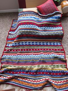 Ravelry: Project Gallery for Mixed Stitch Stripey Blanket pattern by Julie Harrison