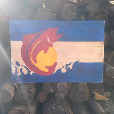Colorado flag with trout painted on beetle by doublejartistries