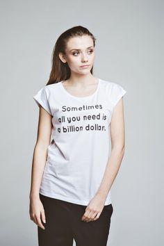 bluzki - t-shirty - damskie-T-shirt Billion Dollars tee t-shirt casual white oversize cotton