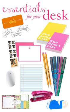 College Prep: Essentials for your Desk  I'm soo obsessed with this post! Even though I already have almost all of the things in it it still makes me so excited and I adore the Kate Spade long list/short list