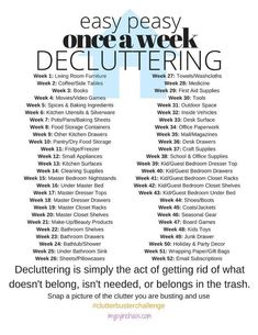 2017 Clutter Buster Challenge! Easy Peasy, Once-A-Week Decluttering Challenge #declutteringahouse