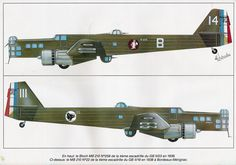 Bloch MB.210 :: The MB.210 and MB.211 were the successors of the French Bloch MB.200 bomber built by Societé des Avions Marcel Bloch in the 1930s and differed primarily in being low wing monoplanes rather than high wing monoplanes. Wiki