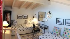 Interior design of villa Spiaggia Dorata! Island Life, Villas, Attic, Islands, Greece, Interior Design, Bedroom, Nature, Furniture