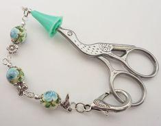 Sissors Fob Keeper w Tip Cover- Blue Rose Tensha beads w Bird Butterfly flower