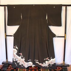 Kimono, Tomesode Vintage Japanese Silk Kimono, Black Formal Kimono, Hand Painted Silk Kimono, Kimono with Family Crest Mon, Free Shipping by KominkaFabricsJapan on Etsy