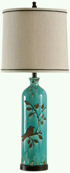 Genial Adele Ceramic Foliage And Bird Turquoise Table Lamp   (Expensive But Cute)