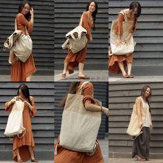 Large canvas-linen backpack-shoulder bag - Tkdress  - 1