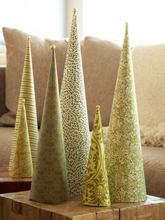 DIY Christmas Cone Trees • Lots of tutorials, including these quick cone trees by 'BHG'!