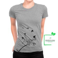 Magnolia flower t-shirt for woman, girls t-shirt women, water based inks print in Québec Creation T Shirt, Magnolia Flower, Shirts With Sayings, Black Print, Screen Printing, Canada Post, Base, Quebec City, Quality Printing