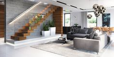 Find home projects from professionals for ideas & inspiration. Projekt domu HomeKONCEPT 30 by HomeKONCEPT Stairs In Living Room, Blue Living Room Decor, Living Room Flooring, Living Room Colors, Living Room Interior, Home Interior Design, Living Room Designs, Living Room Modern, Home Living Room