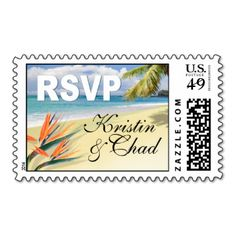 Customize these gorgeous tropical beach postage stamps with your own text and font preferences. Wedding invitations, stickers, magnet favors and RSVP cards are available. If you have questions, need help, or want other coordinated items to match this card, please contact me at cheryl@cheryldanielsart.com. Original design by Cheryl Daniels © 2012.