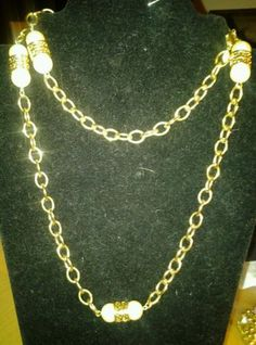 Vintage Monet Long Gold Toned Filigree Double Faux Pearl Nautical Necklace *SOLD 12/2013*