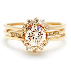 Engagement ring and wedding band by Anna Sheffield