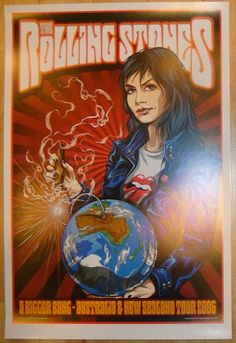 "Rolling Stones - offset lithograph concert poster (click image for more detail) Artist: Ken Taylor Venue: Multi-venue Location: Multi-city Concert Date: 2006 Australia/New Zealand Tour Size: 19 1/4"" x"