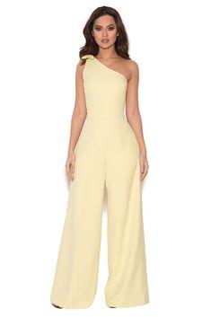 83bdb04a22b7 HOUSE OF CB  Courvel  Pastel Lemon One Shoulder Jumpsuit XS 6   8 SS