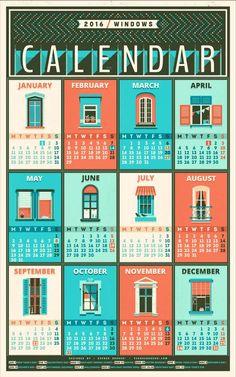 Calendar - 2016 / windows Art Print by Adline / Szende Brassai - X-Small Diy Calendar, Calendar Design, 2016 Calendar, Desk Calender, Calendar Board, Family Calendar, Design Shop, Design Design, Schedule Design
