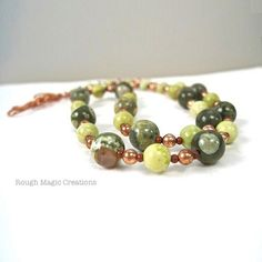 Green Gemstone Necklace Earthy Stones by RoughMagicCreations
