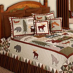 Spruce up your bedroom decor with this amazing Mountain Whispers king-size quilt  Bedding piece features scenes of western wildlife  Bedding is hand quilted for a rustic look