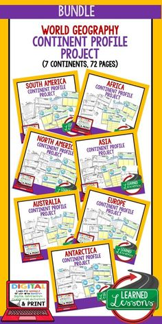 World Geography Continent Profiles, North America Profile, South America Profile, Europe Profile, Africa Profile, Asia Profile, Antarctica Profile, Australia Profile, World Geography Continent Lessons, North America Lessons, South America Lessons, Europe Lessons, Africa Lessons, Asia Lessons, Antarctica Lessons, Australia Lessons World Geography Lessons, Teaching World Geography, Geography Activities, 6th Grade Social Studies, Social Studies Resources, Project Based Learning, Interactive Notebooks, Graphic Organizers, Continents