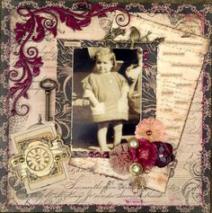 Gorgously layered heritage papers, ephemera and vintage elements on this lovely childhood page.