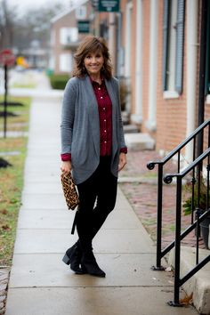 Cozy cardigan paired with buffalo checks... Pattern mixing is one fashion goal I have for the New Year. I want to incorporate it into more of my outfits this year.