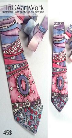 Ornament Hand-paint Pure silk men's tie 45$