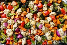 This sheet-pan meal has all the protein and veggies you need in a meal. All you have to do is throw your ingredients together with a splash of olive oil, chopped herbs, and a dash of salt and pepper. Get the recipe here. Per one serving: 373 calories; 17 grams carbs