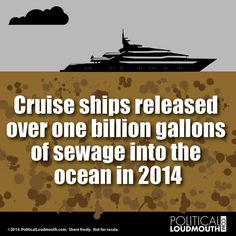"""Some sh!tty news for our oceans… data from EPA also shows that """"each day an average cruise ship is at sea it emits more sulfur dioxide than 13 million cars and more soot than one million cars. It joins all the plastic to further stuff our Planet ! Save Our Earth, Save The Planet, Our Planet, Planet Earth, Change The World, In This World, Save Our Oceans, Environmental Issues, Global Warming"""