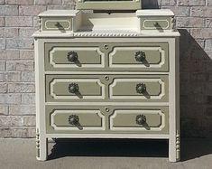 Shabby Chic Antique Glove Box Dresser with Mirror in Old White & Versailles Annie Sloan Chalk Paint