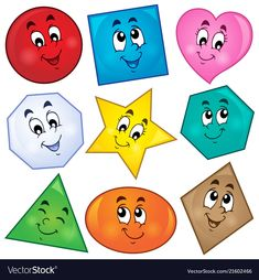 Various shapes theme image 1 Royalty Free Vector Image Preschool Learning Activities, Preschool Printables, Toddler Learning, Preschool Worksheets, Toddler Activities, Preschool Activities, Teaching Kids, Activities For Kids, Kindergarden Art