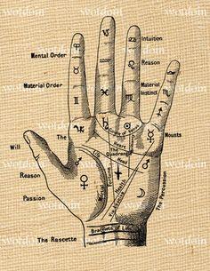 Fortune Teller Palmistry Hand Digital Image Transfer for Pillows Cards Notebooks… Magic Symbols, Symbols And Meanings, Ancient Symbols, Hand Symbols, Tattoo Symbols, Egyptian Symbols, Arte Obscura, Palm Reading, Palmistry