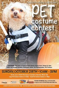 Doggy Door Pet Costume Contest, Sunday,  10/28 from 10a - 3p.  http://www.OrlandoCanineConnections.com