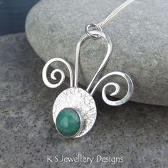 New Jade Tail Feathers Sterling Silver Pendant - Handmade Metalwork Jewellery