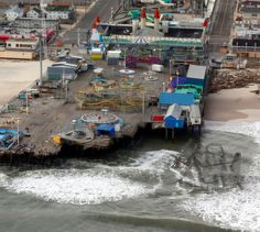 17 incredible aerial photos of damage to homes, boardwalks & amusements of the Jersey Shore.